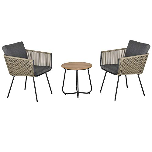 Outsunny Conjunto de Muebles de Ratán 1 Mesa Redonda y 2 Sillas Butaca con Cojines Acolchados para Jardín Balcón Terraza Acero Caqui y Gris