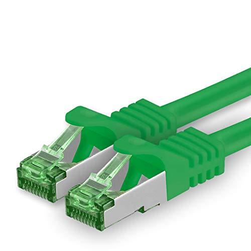 1aTTack.de Cat.7 netwerkkabel 10m - groen - 1 stuk - Cat7 Ethernet kabel netwerk Lan kabel ruwe kabel 10 Gb s S-FTP PIMF set patchkabel met Rj 45 connector Cat.6a
