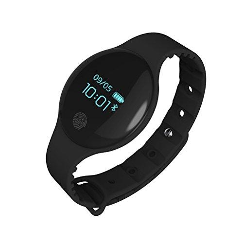 NICERIO H8 - Braccialetto intelligente per orologio in silicone con monitoraggio del sonno, per bambini, colore: nero