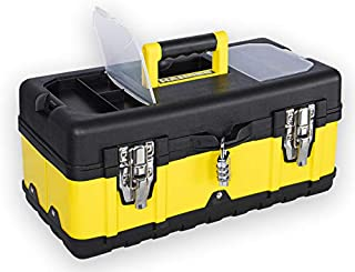 Handee 17-Inch Multipurpose Tool Box - Portable Lockable Storage - Two Metal Latches, Re-settable Combination Lock - Heavy...