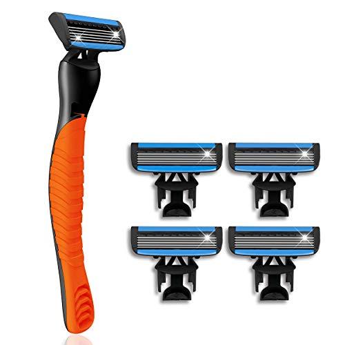 Herrenrasierer, Hizek Rasierer für Herren, Einwegrasierer mit 5-fach-Klinge + 4 Ersatzklingen, Nassrasierer Rasierapparat für Männer Effizienteres Rasieren