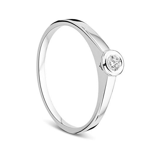 Orovi Damen Verlobungsring Gold Solitärring Diamantring 14 Karat (585) Diamant 0.05crt Weißgold Ring mit Diamanten Ring Handgemacht in Italien