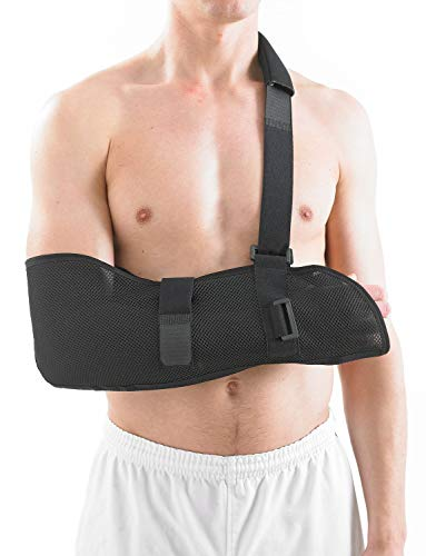 Neo G Arm Sling, Airflow Breathable - Lightweight Shoulder Sling Helps Support and Elevate Arm, Injury Recovery, Pre/Post Surgery - Adjustable Straps - Class 1 Medical Device - One Size - Black