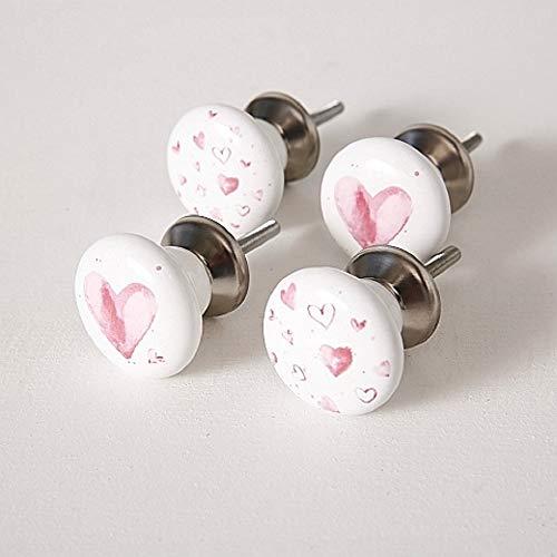 Pomelli per mobili, con disegni a forma di cuore, 4 pezzi, altezza 6 cm, in dolomite