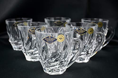 Crystal Glass Coffee Tea set of 6 Cups, Clear Crystal Mugs 5oz /150 ml, Modern Cups, Bohemia Czech, Home decor, Gift