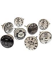 MG-710 set met gemengde kastdeurknoppen, zwart en wit, vintage-stijl, keramiek, officieel licentieproduct, 8 stuks, van Mango Tree
