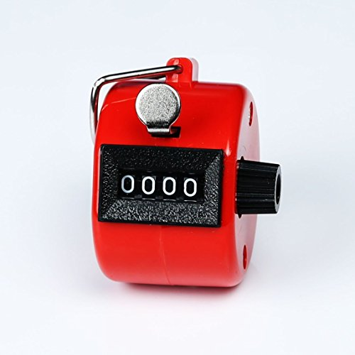 Bluecell Red Color Handheld Tally Counter 4 Digit Display for Lap/Sport/Coach/School/Event + Free Bluecell Cable Tie