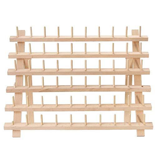 morytrade 糸巻ラック ミシン糸 刺繍糸 糸立て 台 木製 ラック 収納 スタンド (60本)