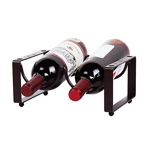 Bastidores de vino Botellas con patas encimera de metal estante del vino de mesa titulares de vino de almacenamiento Soportes 2 de bronce for la pequeña Inicio Wet Bar Titular de la simplicidad del vi