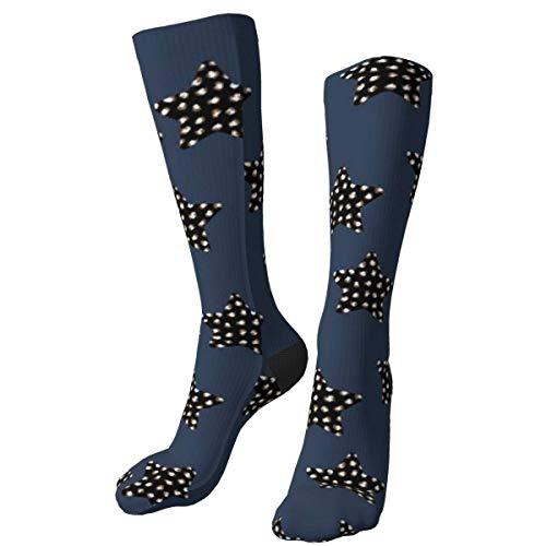iuitt7rtree Leopardenmuster estrellas temporada Navidad Animal Print personalizado Grueso Crew Calcetines Mid Calf Dress Calcetines Casual Invierno largos Calcetines para hombres mujeres
