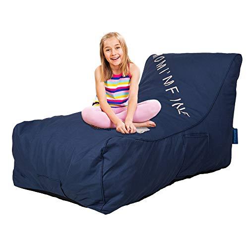 COLOR TREE Upholstered Lounger for Kids and Family, Bean Bag Chair Boys Girls Self-Rebound Sponge Sofa Couch for Bedroom, Living Room, Backyard - Modern Leisure Relax, Dark Blue