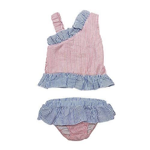 MONOBLANKS Cute Baby Girls Swimwear Bow Seersucker Bikini 2 Piece Swimsuit (4/5t, Red(Sloping Shoulder))