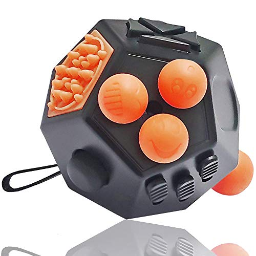 UOOEFUN Kid Fidget Cube,Prime Fidget Cube Toys,Dodecagon Fidget Toy Relief Stress and Anxiety Depression Anti for Children and Adult with Autism,ADD, ADHD & OCD (Black / A1)