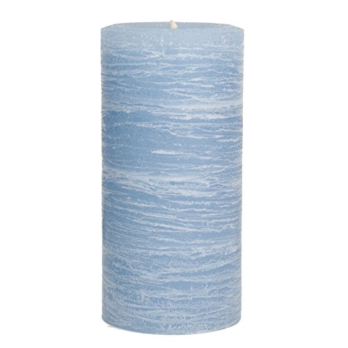 Nordic Candle - Rustic Pillar Candle - 3x6 Inch Light Blue - Unscented