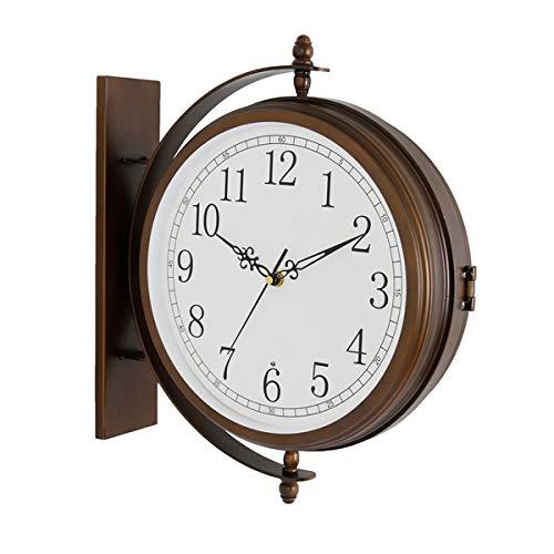 Outdoor-Uhr mit Westminster Chime, Double Sided Wanduhr wasserdicht für Patio Wand Großen Double Sided Bahnhof Stil mit Bügeln hängend, 16,5 × 13.8in