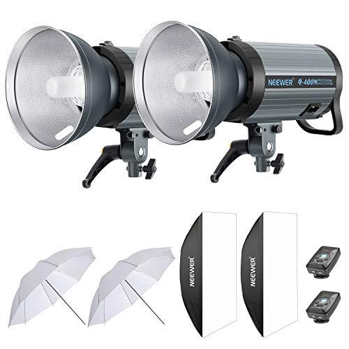 Neewer 800W Studio Blitz Fotografie Beleuchtung Set (2) 400W Monolight mit 2,4G Funk Auslöser (2) Lampenschirm (2) Softbox (2) 33 Zoll Schirm für Bowens Montage (Q-400N)