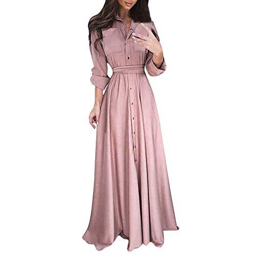 Womens Lapel Maxi Long Dress Casual Fashion Long Sleeve Solid Shirt Dress Pink