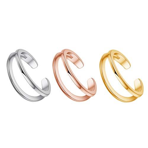 Holibanna Conjunto de anéis de dedo aberto de 3 peças, anéis de cobre femininos, acessórios de joia para senhoras e meninas, artigos de festa de aniversário ao ar livre