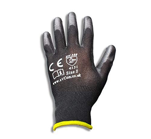 12 Paar PU-beschichtete schwarze Nylon-Arbeitshandschuhe von eVCom® (verbesserte Qualität) Ideal für Bauarbeiter, Mechaniker, Bauarbeiter oder Gartenarbeit (groß)