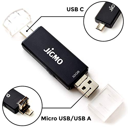 32GB Diktiergerät Voice Recorder Vorlesungen - OTG Flash Drive Mini Aufnahmegerät - Mit USB A - USB C - Micro USB - Digital Voice Activated Recorder für Meetings - Einfache Bedienung - JiGMO (VAR3C)