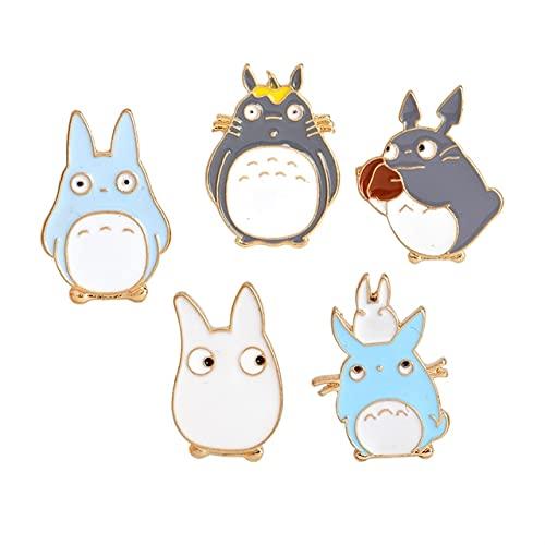Mein Nachbar Comic Totoro Emaille Pins Chinchilla Broschen Hemd Tasche Abzeichen Cartoon Tier 5 Stück
