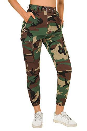 Fanient Damen Hose Farbe Belted Cargo Fashion Jogger Pants mit Gürtel Sport Leggings für Damen