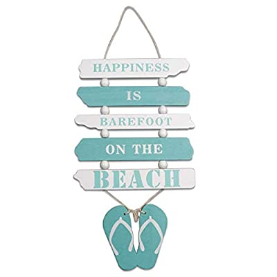 "Wooden Wall Decorative Sign Wood Plaque Sign Wooden Beach Plaque Door Wall Plaque Decor Hanging Wall Sign Hanging Wood Wall Decoration-Happiness is Barefoot ON The Beach 17"" x 8"" (Light Blue)"