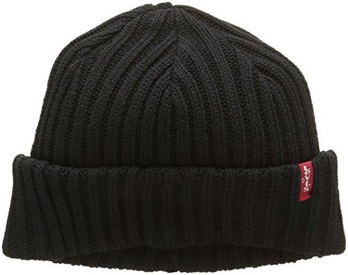 Levi's Ribbed Beanie Bonnet, Schwarz (Black), one size Unisex