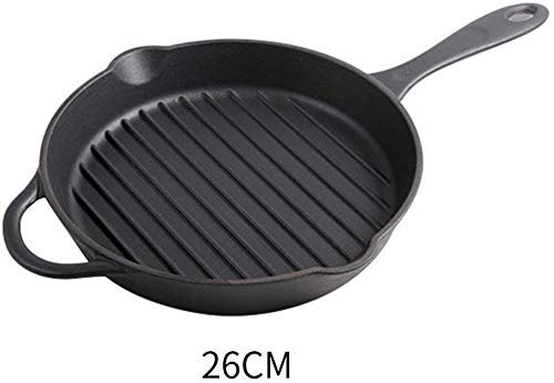 ZXL 25.3cm/10inch Gietijzeren Emaille Skillet Pan, Nonstick Ronde Grillit Serveerpan