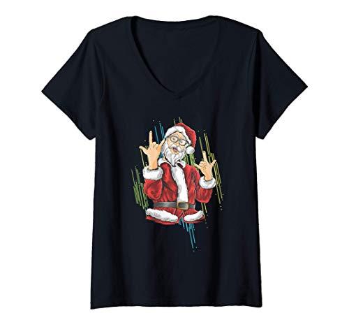 Donna Hipster Santa Claus Hang Loose Christmas Rock Love Maglietta con Collo a V