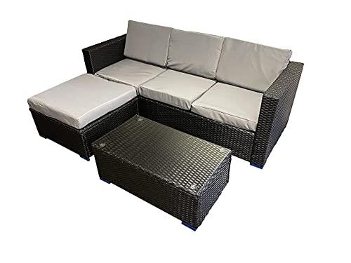 Outdoor Living Black Rattan Garden Furniture Patio 4 Seat Corner Sofa & Coffee Table Patio Set