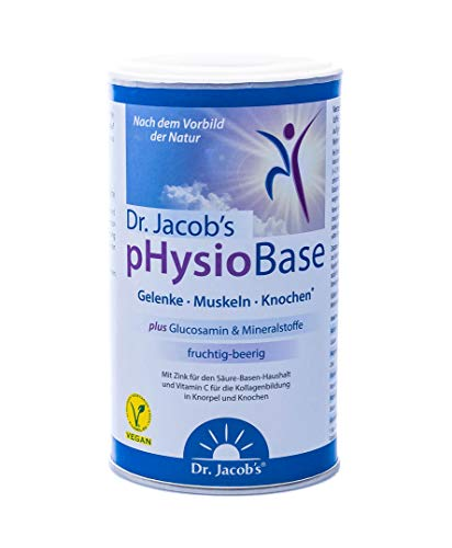 Dr. Jacob's pHysioBase 300 g Dose I Kraft echter Beeren und veganem Glucosamin I auf Basis von Citraten und Laktat, viel Kalium, wenig Natrium I für Gelenke, Knochen und Muskeln