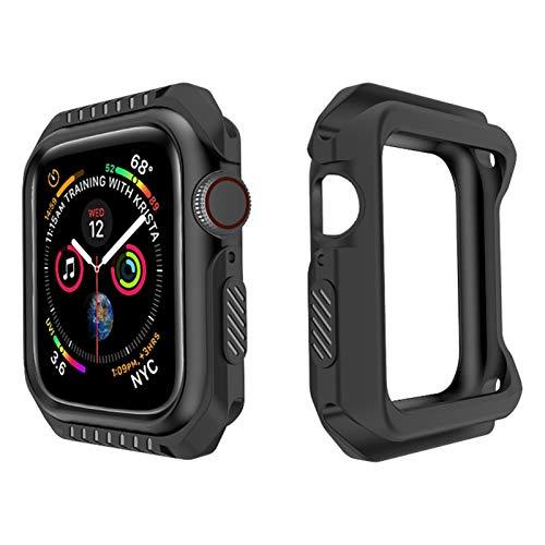 CRFYJ Custodia Protettiva per Shell per IWATCH Series 6 SE 5 4 3 2 1 Copertura in Silicone PC Bumper per Apple Watch 44mm 40mm 42mm 38mm Nuovi Accessori, (Color : Black, Dial Diameter : 42mm)