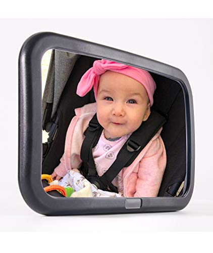 PH AUTO Baby Car Mirror. Back Seat Baby Mirror.Extra Large.Wide View of Rear Facing Infant. Fully Assembled. Adjustable Angle to See baby's move. Shatterproof. Crystal Clearview. Best Baby Shower Gift