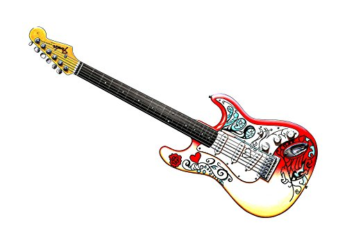 George Morgan Illustration Fender Stratocaster de Jimi Hendrix como se Utiliza en Monterey Poster Print Tamaño A1