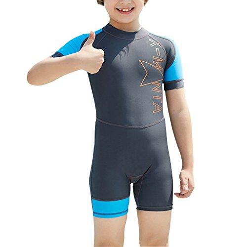 Hony Kids One Piece Wetsuit Badpak - Jongens Meisjes Zwemkleding Korte mouw Duiken Suit Zon Bescherming UV 50+ Zwemmen Kostuum Peuter Kind Bodysuit Rashguard Strand