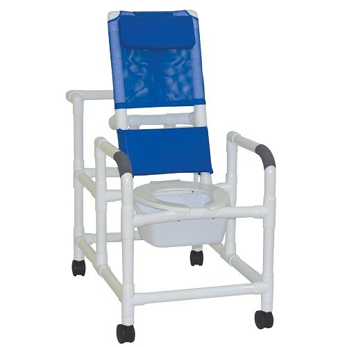 """MJM International 194-SQ-PAIL Reclining Shower Chair with Commode Pail, 325 oz Capacity, 48"""" Height x 44"""" Length x 24"""" Width x 49"""" Depth, Royal Blue/Forest Green/Mauve"""