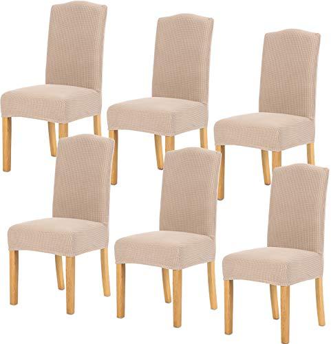 TIANSHU Fundas para sillas 6 Piezas,Poliéster Elástica Fundas sillas Duradera Modern Bouquet de la