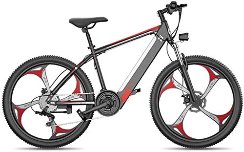 Ebikes, 26'' Electric Mountain Bike Fat Tire E-Bike Sports Mountain Bikes Full Suspension with 27 Speed Gear And Three Working Modes, Disc Brakes, for Outdoor Cycling Travel Work Out (Color : Red)