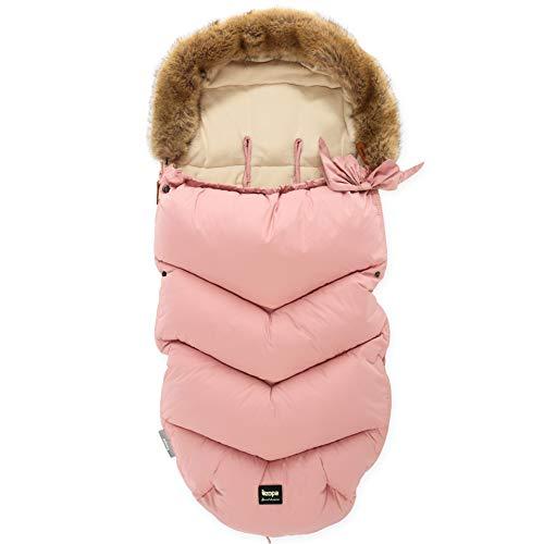 ZOPA Luxus Winter Fusak FLUFFY mit Fell - universell Fußsack fussack für Kinderwagen Buggy (Old Pink)