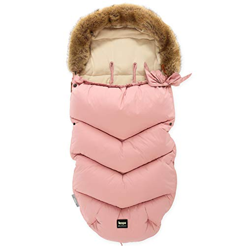 ZOPA Luxus Winter Fusak FLUFFY mit Fell - universell Fußsack fussack für Kinderwagen Buggy (Old Pink)