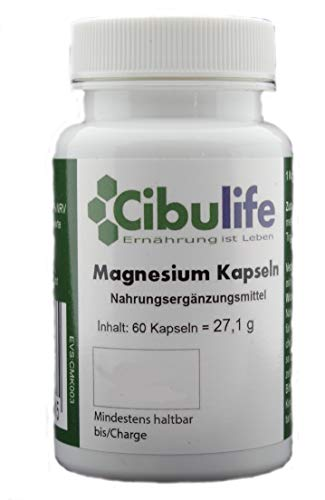 Cibulife Magnesium Kapseln - Made in Germany - Vegan - hochdosiert - pures Magnesiumoxid - natürlicher Depoteffekt - 400mg elementares Magnesium je Tagesdosis