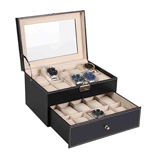 Uhrenbox Organizer mit 20 Slots Schmuckschatulle Uhrenboxen Geschenkboxen für Männer Frauen Taschenuhr Sammlung Roscloud@
