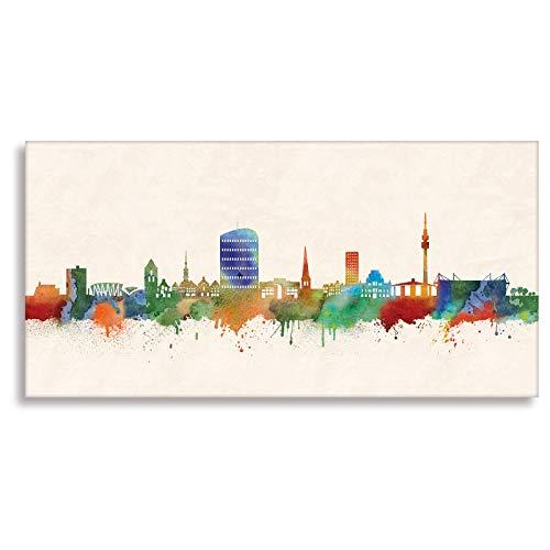 Kunstbruder Dortmund Druck auf leinwand Stencil Graffiti - Bild Dortmund Skyline Paul London! Bild fertig auf Keilrahmen Kunstdrucke, Wandbilder, Bilder zur Dekoratio (60x120 cm)