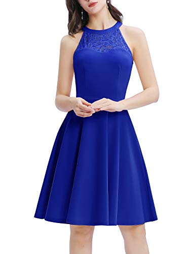 Bbonlinedress Damen Cocktailkleid Abendkleider Rockabilly Retro Vintage Neckholder Royalblue M