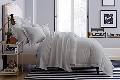 800 Thread Count Ultra Silky Soft Egyptian Cotton Super King 98x108 Size 3-Pieces Duvet Cover Hidden Zipper Closer & Corner Ties Durable and Fade Resistant Silver Grey Solid