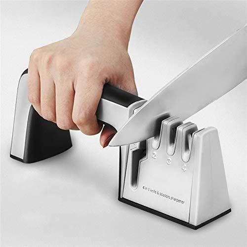 Sistema afilador profesional 4 Etapas piedras de afilar de cocina cuchillo de la fruta se agudizan Afilado herramientas de fácil uso (Color : Black)