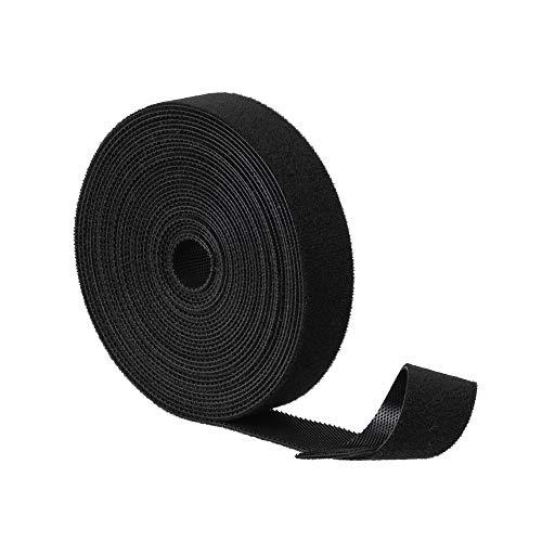 BRAVEHISNE Klett Kabelbinder wiederverschließbar Klettbänder, klettverschluss Kabelbinder Rolle für Kabel Frei Zuschneidbar zum Nähen Basteln Kabelmanagement (5mx20mm,Schwarz)