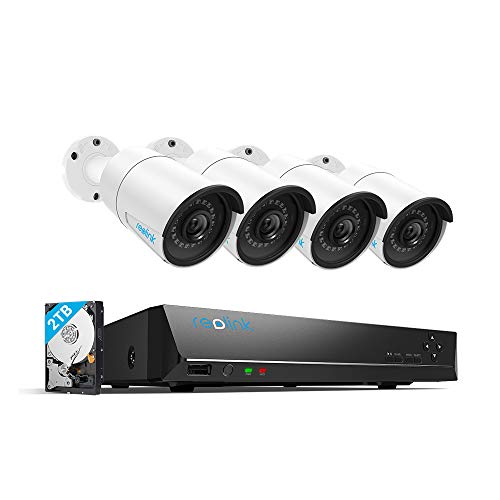 Reolink 4MP 8CH PoE Video Surveillance System, 4pcs Wired Outdoor 1440P PoE IP Cameras, 5MP 4MP Supported 8 Channel NVR Security System with 2TB HDD for 24/7 Recording RLK8-410B4