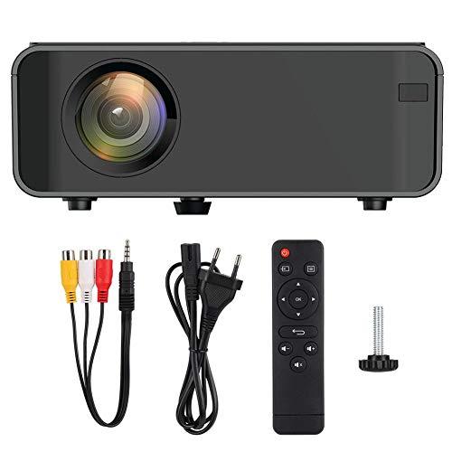 Diyeeni Mini 1080P Digitalprojektor, tragbarer Projektor, 30.000 Stunden LCD, Dual-USB, HDMI, VGA-Schnittstelle, Kopfhörer, AV-Geräte, KTV für Multimedia-Klassenzimmer/Heimkino/Besprechungsraum(EU)